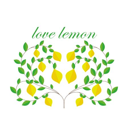 postcard. branches of a lemon tree in the form of a heart. love of fruit