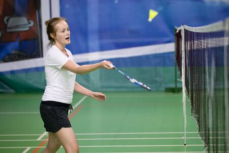 Russia, Novosibirsk, March 29, 2019. Athletes train in badminton courts