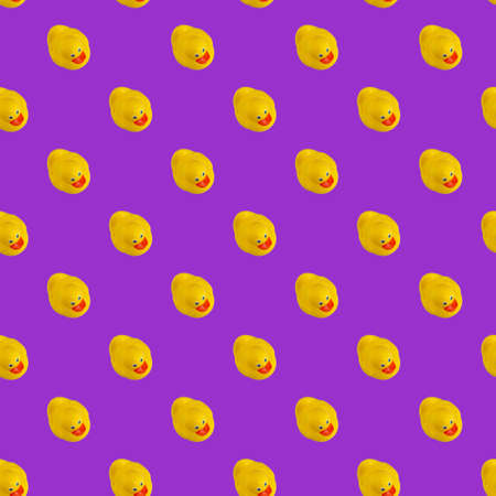 Digital seamless pattern of yellow rubber duck on purple background