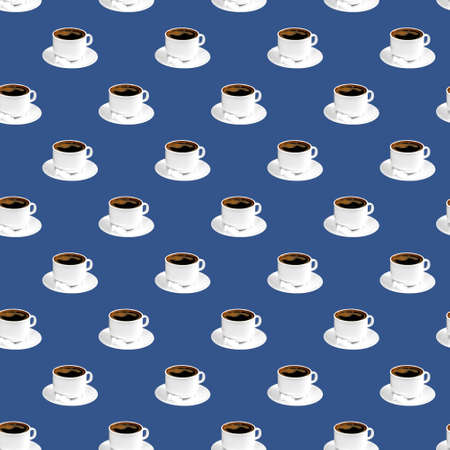 Seamless pattern of black coffee in white cup and saucer, classic blue color background with empty space for text, unhealthy food concept
