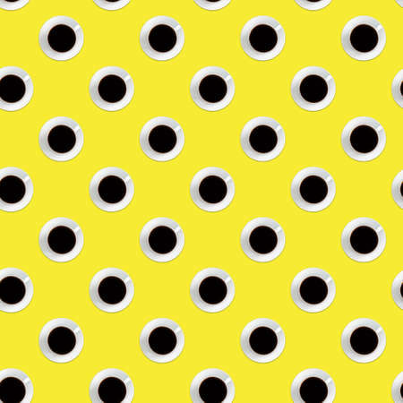 Seamless pattern of black coffee in white cup and saucer, bright yellow color