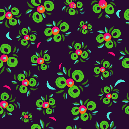 Colorful seamless pattern with decorative flowers. Roses. Indian style.