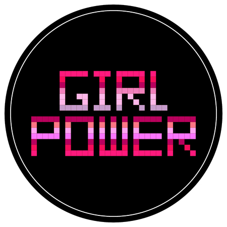 Girl power round sticker vector illustration design.