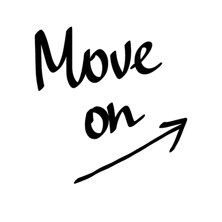 Move onblack lettering with arrow on white font Stockfoto - 99222046