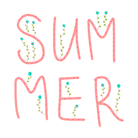 Summer pink and blue floral lettering on white font Stock Illustratie