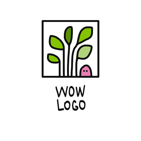 Worm and plant logo illustration