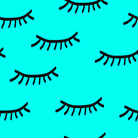 Lashes handdrawn seamless pattern handdrawn in minimalistic style 矢量图像