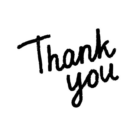 Thankyou beautiful lettering black on white font