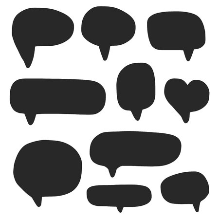 Speech bubbles empty for words or phrases black on white font in different forms