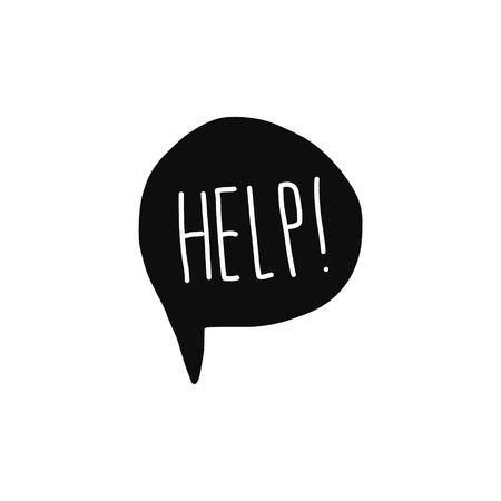 Aiuta a scrivere la parola bianca sul fumetto nero sul carattere bianco disegnato a mano