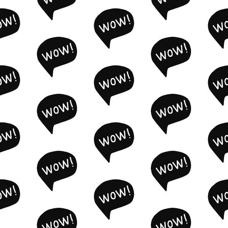 Wow expressive word seamless pattern black on white font hand drawn