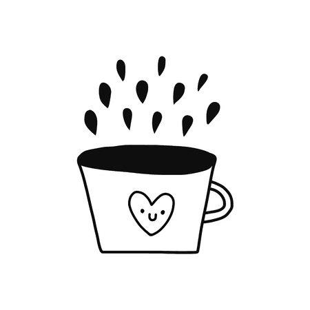 Coffee cup illustration with smiling heart black and white colors for sticker and poster