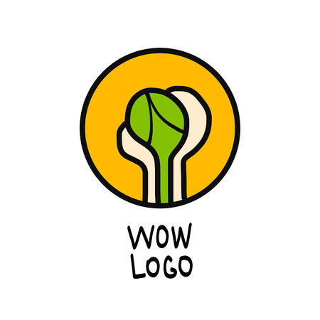 Creative design. Vector symbolic graphic representation of the plant. Green sprout in hands for ecological problems eco-design t-shirts and presentation