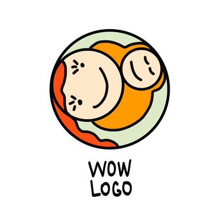 Concept de maternité - femme heureuse avec nouveau-né. Modèle de conception de logo vectoriel dans un style linéaire pour votre conception Logo
