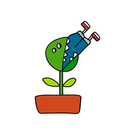 Man eating plant illustration forprints posters and t shirt design 版權商用圖片 - 115594690