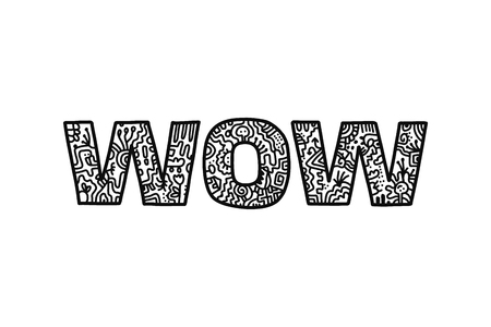 Wow doodle word hand drawn in abstract style black and white for banners prints posters cards and presentation