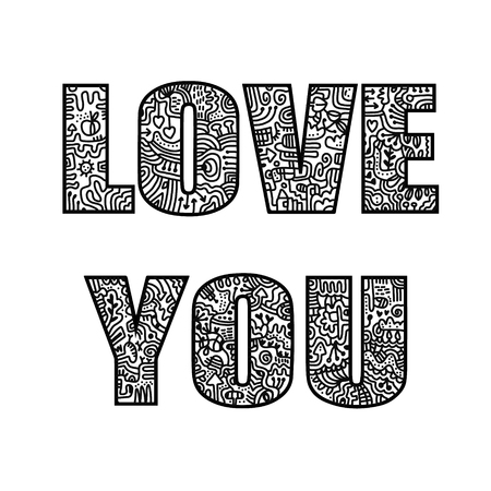Love you doodle lettering illustration hand drawn for prints posters t shirt banners and presentation blackon white font background blog design and concept art