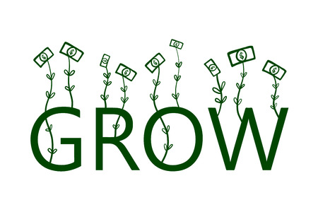 Growing dollars hand drawn illustration for business design prints presentation banner blogs and t shirts money profit and progress income Stok Fotoğraf