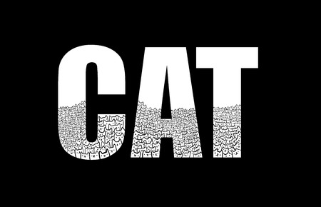 Cats inside word cat illustration line for prints posters and banners t shirts and lettering hand drawn