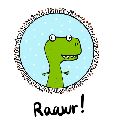 Hand drawn minimalism dinosaur t rex reptile in a frame for prints posters banners cute illustation with lettering green blue black and white