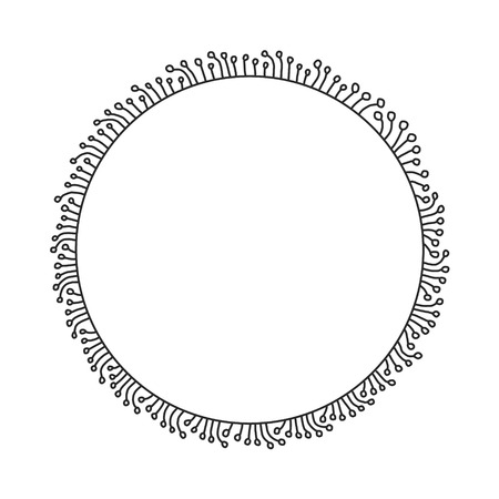Hand drawn minimalism frame round forbanners posters prints blogs publications black and white