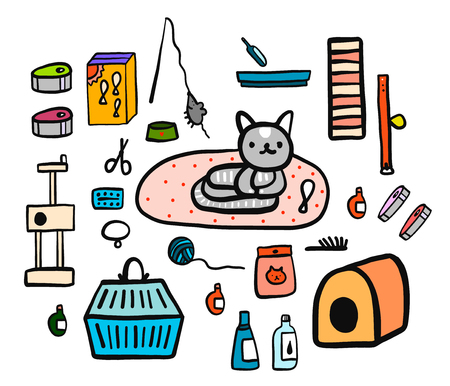 Cat accessories set hand drawn illustration minimalism for prints posters veterinary clinics banners promo and animal care games foof drink bed canned dry drops drugs brush fish.