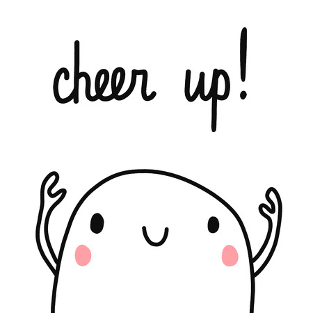 Cheer up cute marshmallow illustration minimalism for prints posters cards postcards notebooks books and primitive design kid school motivation