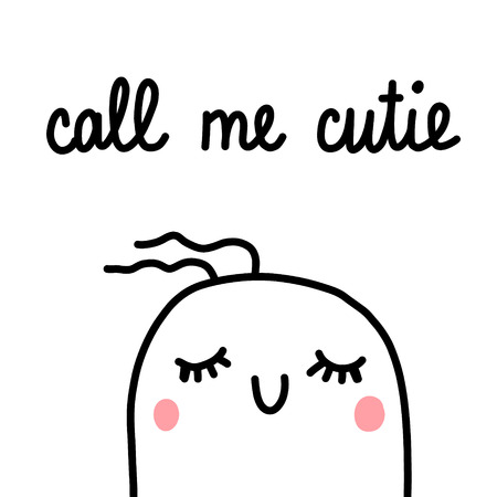 Call me cutie marshmallow illustration hand drawn minimalism for prints posters banners cards postcards beauty corner studio make up saloon kawaii concept style