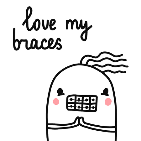 Love my braces hand drawn marshmallow banner illustration with lettering for dental orthodontic treatment process banners posters artickles cards postcards promo and logo Illustration