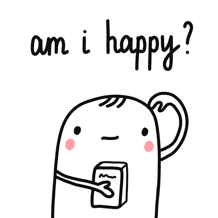 Am I happy question phrase illustration with lettering boy with a book hand drawn minimalism for prints posters t shirts banners minimalism