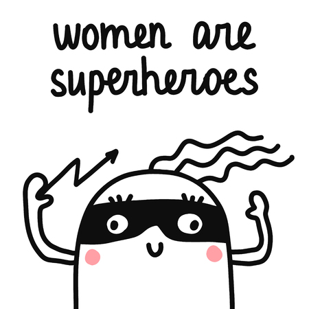 Women are superheroes hand drawn illustration marshmallow in a mask with lightning in a hand for prints posters t shirt banners articles notebooks Banque d'images - 115594881
