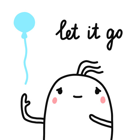 Let it go hand drawn illustration for prints posters banners t shirts cute marshmallow with flying balloon minimalism