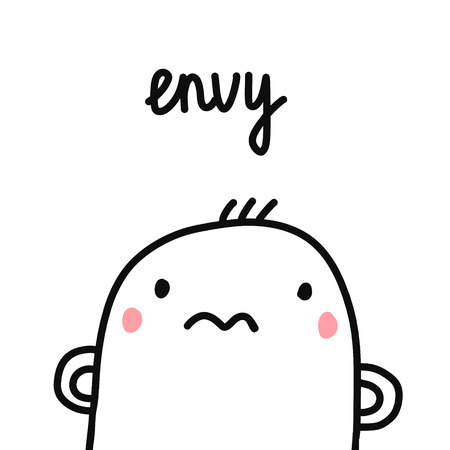 Envy sin for project human sins humanity illustration with marshmallow for prints posters articles psychology psychotherapy and journals Illustration