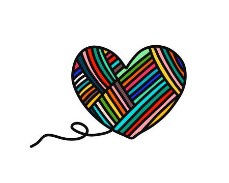 Corazón de hilo, lana, logotipo dibujado a mano para hilado, proyectos, cursos, clases magistrales, tutoriales, video, estudio, enseñanza y aprendizaje, tejer