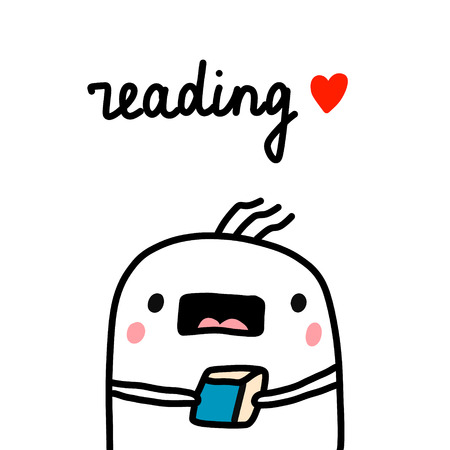 I love reading hand drawn illustration with cute marshmallow for prints posters banners t shirts cards notebooks journals articles with book minimalism