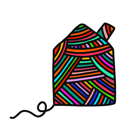Knitted house yarn wool hand drawn illustration for prints posters t shirts background knitting courses and master classes minimalism