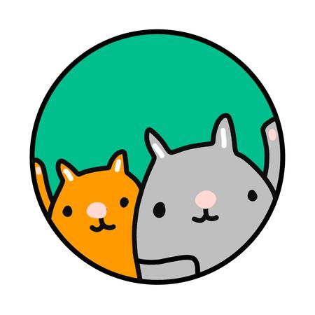 Dwa koty ręcznie rysowane ilustracja dla kliniki weterynaryjnej sklepu zoologicznego do druku plakaty banery prezentacja koszulki artykuły i czasopisma