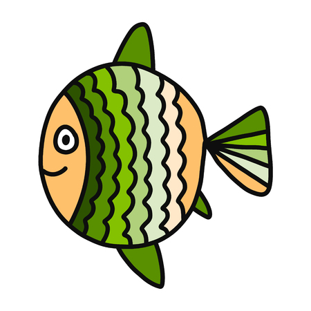 Cute green and orange round fish hand drawn illustration for fish market and goods for prints posters t shirts banners cards postcards presentation articles and journals mnimalism.