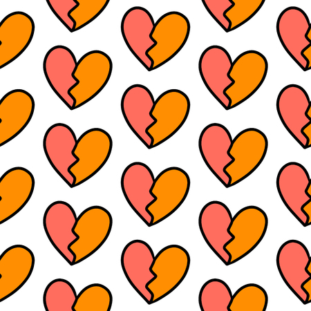 Broken heart hand drawn semaless pattern red and orange minimalism