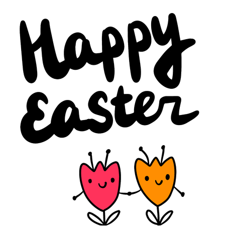 Happy easter hand drawn illustration with two tulips holding hands minimalism