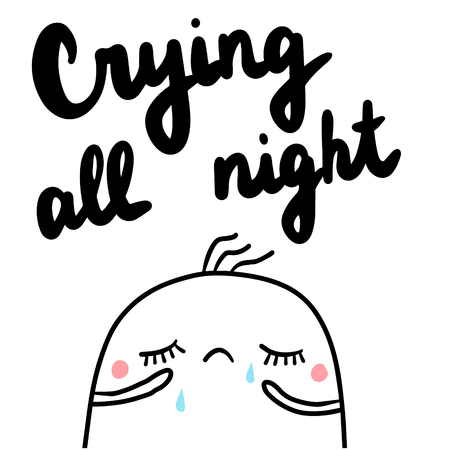Crying all night hand drawn illustration with sad marshmallow minimalism