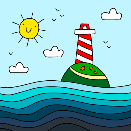 Lighthouse on the hill hand drawn illustration with the sea minimalism for kids room