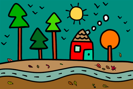 Autumn season hand drawn illustration with house in the forest minimalism