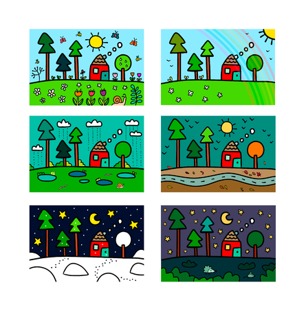 Four seasons and nights set hand drawn illustration minimalism for kids room Çizim