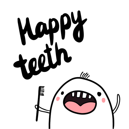 Happy teeth hand drawn illustration with cute marshmallow minimalism for dental care