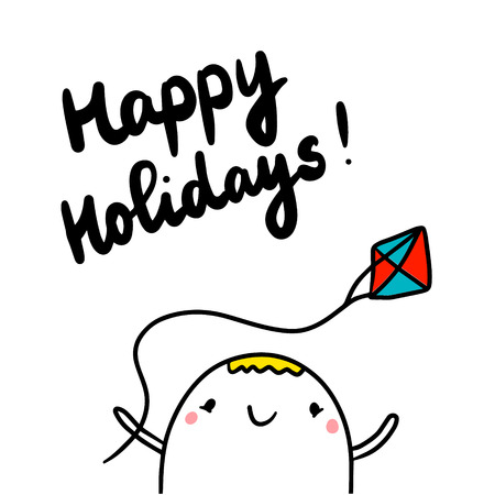 Happy holidays cute hand drawn illustration with marshmallow holding kite cartoon minimalism Иллюстрация