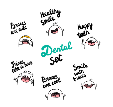 Dental set hand drawn illustrations with cute marshmallow wearing braces and cleaning teeth cartoon minimalism