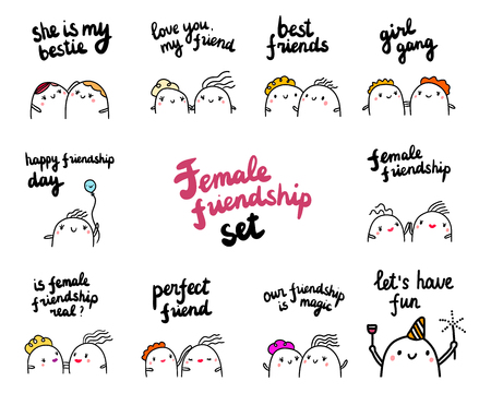 Females friendship set hand drawn illustrations with cute marshmallows cartoon minimalism