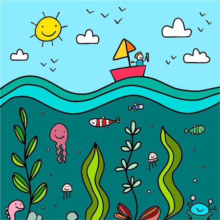 Ocean hand drawn illustration with cute details cartoon minimalism