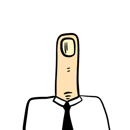 Finger head businessman manager hand drawn illustration